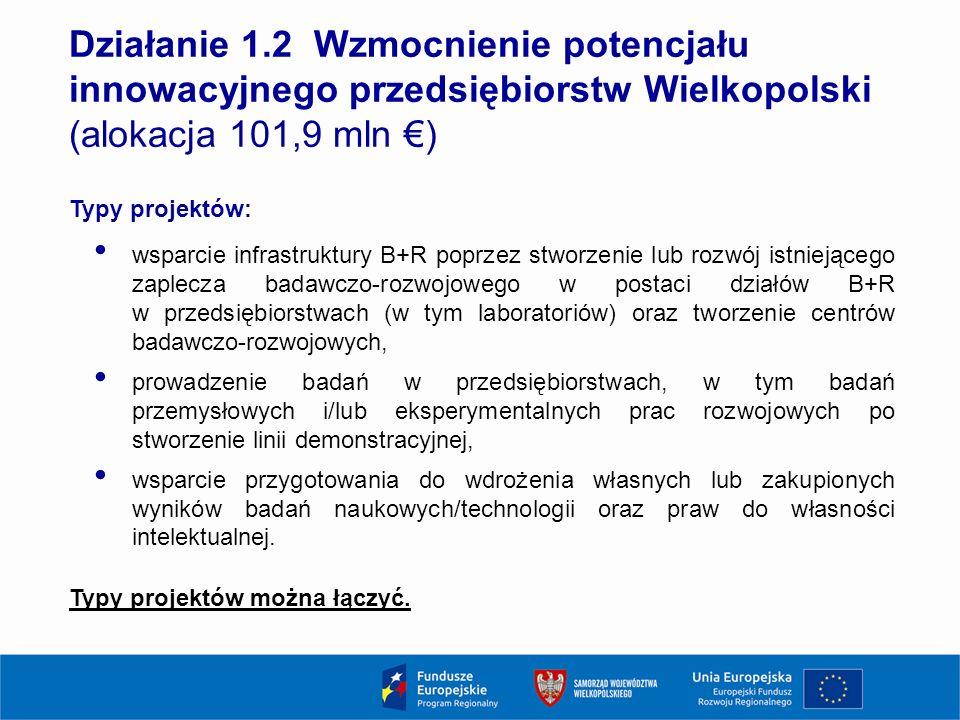 11 Działanie 1.2 Wzmocnienie potencjału innowacyjnego przedsiębiorstw Wielkopolski (alokacja 101,9 mln €) Typy projektów: wsparcie infrastruktury B+R poprzez stworzenie lub rozwój istniejącego zaplecza badawczo-rozwojowego w postaci działów B+R w przedsiębiorstwach (w tym laboratoriów) oraz tworzenie centrów badawczo-rozwojowych, prowadzenie badań w przedsiębiorstwach, w tym badań przemysłowych i/lub eksperymentalnych prac rozwojowych po stworzenie linii demonstracyjnej, wsparcie przygotowania do wdrożenia własnych lub zakupionych wyników badań naukowych/technologii oraz praw do własności intelektualnej.