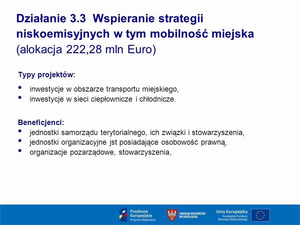 Działanie 3.3 Wspieranie strategii niskoemisyjnych w tym mobilność miejska (alokacja 222,28 mln Euro) Typy projektów: inwestycje w obszarze transportu miejskiego, inwestycje w sieci ciepłownicze i chłodnicze.