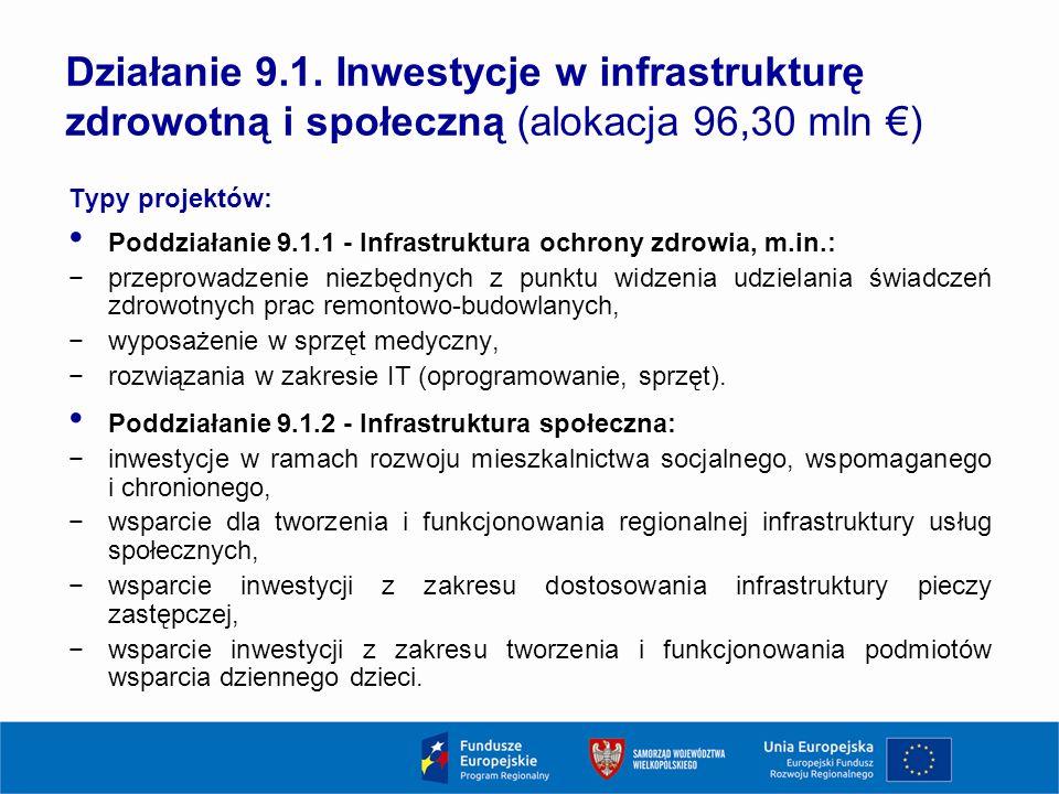 Typy projektów: Poddziałanie 9.1.1 - Infrastruktura ochrony zdrowia, m.in.: −przeprowadzenie niezbędnych z punktu widzenia udzielania świadczeń zdrowotnych prac remontowo-budowlanych, −wyposażenie w sprzęt medyczny, −rozwiązania w zakresie IT (oprogramowanie, sprzęt).