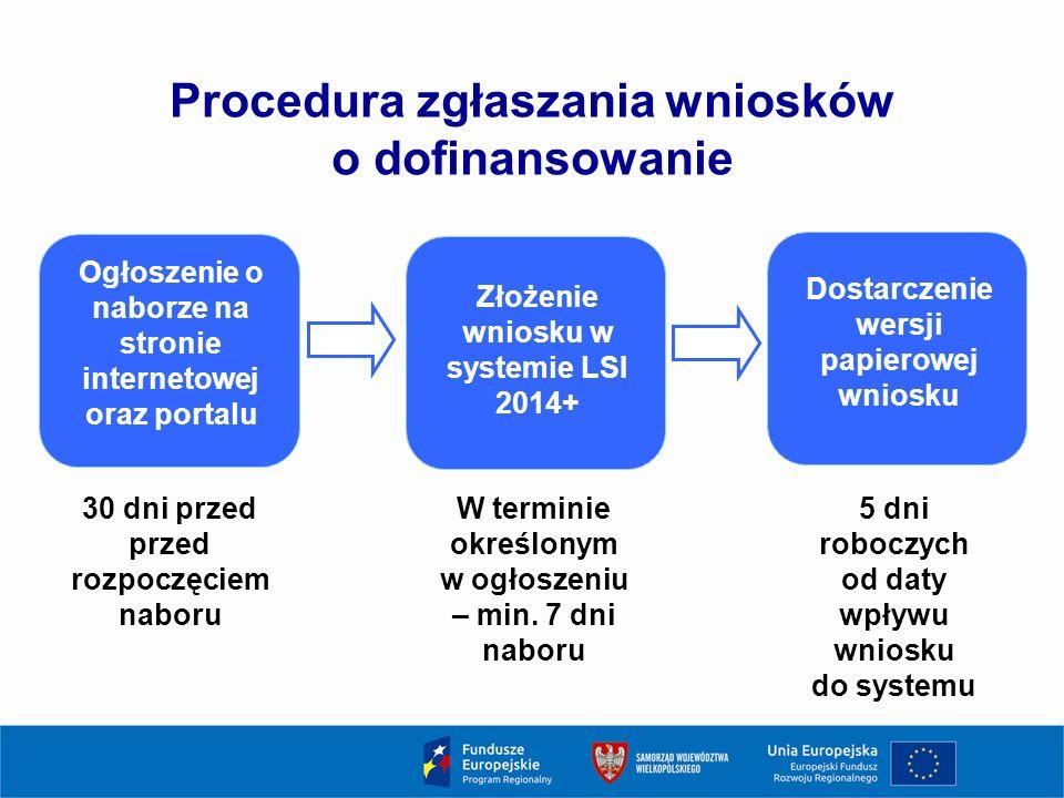 Procedura zgłaszania wniosków o dofinansowanie Ogłoszenie o naborze na stronie internetowej oraz portalu 30 dni przed przed rozpoczęciem naboru Złożenie wniosku w systemie LSI 2014+ Dostarczenie wersji papierowej wniosku W terminie określonym w ogłoszeniu – min.