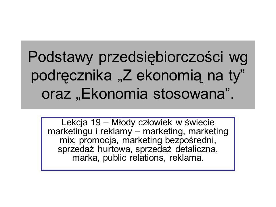 """Podstawy przedsiębiorczości wg podręcznika """"Z ekonomią na ty oraz """"Ekonomia stosowana ."""
