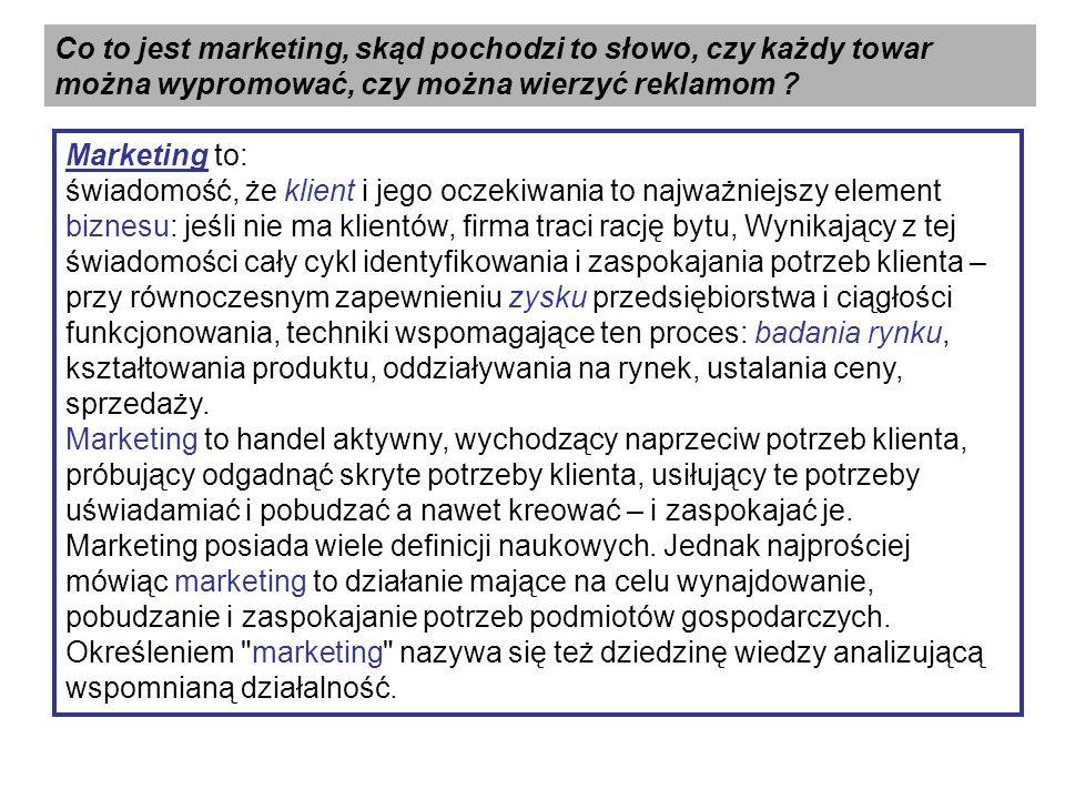 Co to jest marketing, skąd pochodzi to słowo, czy każdy towar można wypromować, czy można wierzyć reklamom .