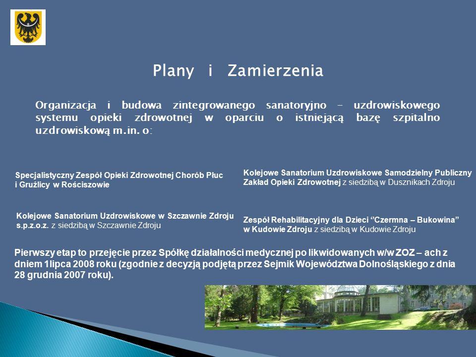 Plany i Zamierzenia Organizacja i budowa zintegrowanego sanatoryjno – uzdrowiskowego systemu opieki zdrowotnej w oparciu o istniejącą bazę szpitalno uzdrowiskową m.in.