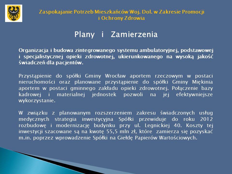 Plany i Zamierzenia Organizacja i budowa zintegrowanego systemu ambulatoryjnej, podstawowej i specjalistycznej opieki zdrowotnej, ukierunkowanego na wysoką jakość świadczeń dla pacjentów.