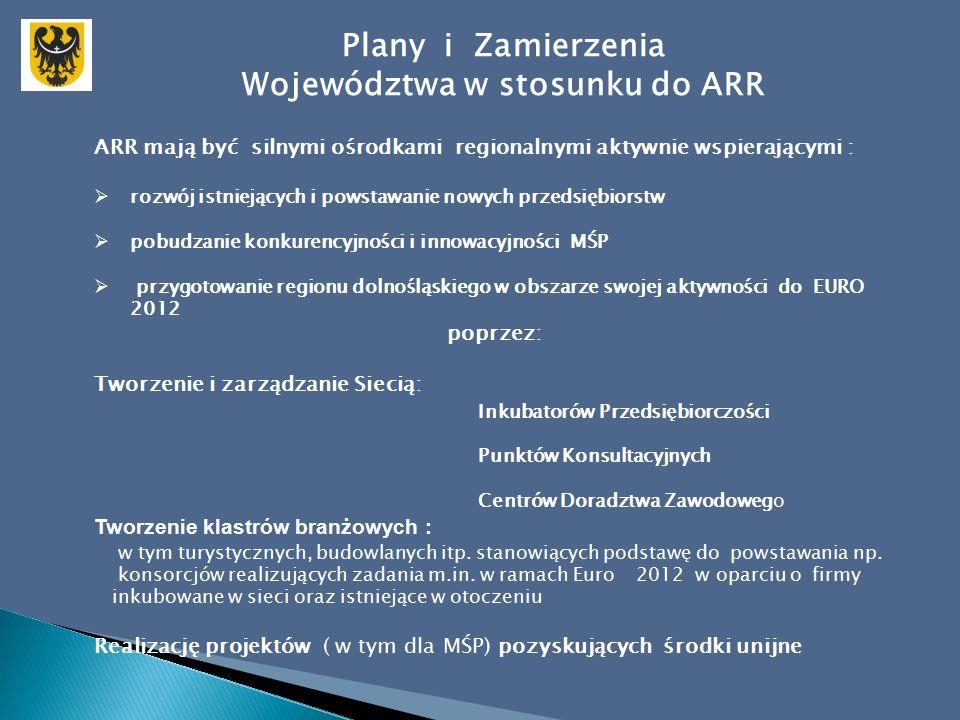 Plany i Zamierzenia Województwa w stosunku do ARR ARR mają być silnymi ośrodkami regionalnymi aktywnie wspierającymi :  rozwój istniejących i powstawanie nowych przedsiębiorstw  pobudzanie konkurencyjności i innowacyjności MŚP  przygotowanie regionu dolnośląskiego w obszarze swojej aktywności do EURO 2012 poprzez: Tworzenie i zarządzanie Siecią: Inkubatorów Przedsiębiorczości Punktów Konsultacyjnych Centrów Doradztwa Zawodowego Tworzenie klastrów branżowych : w tym turystycznych, budowlanych itp.