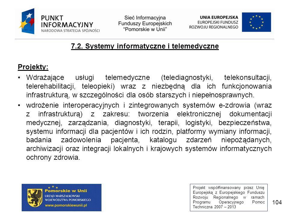 Projekt współfinansowany przez Unię Europejską z Europejskiego Funduszu Rozwoju Regionalnego w ramach Programu Operacyjnego Pomoc Techniczna 2007 – 2013 104 7.2.