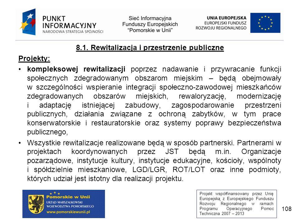 Projekt współfinansowany przez Unię Europejską z Europejskiego Funduszu Rozwoju Regionalnego w ramach Programu Operacyjnego Pomoc Techniczna 2007 – 2013 108 8.1.