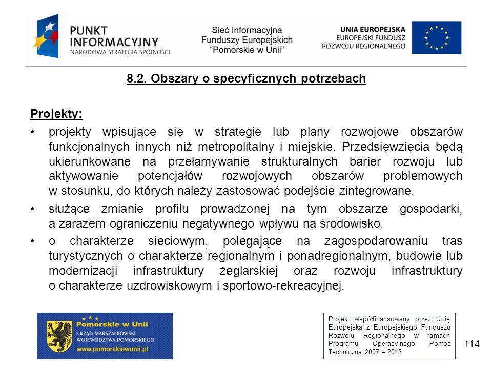Projekt współfinansowany przez Unię Europejską z Europejskiego Funduszu Rozwoju Regionalnego w ramach Programu Operacyjnego Pomoc Techniczna 2007 – 2013 114 8.2.