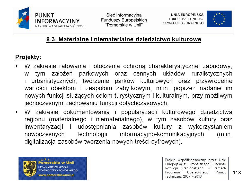 Projekt współfinansowany przez Unię Europejską z Europejskiego Funduszu Rozwoju Regionalnego w ramach Programu Operacyjnego Pomoc Techniczna 2007 – 2013 118 8.3.