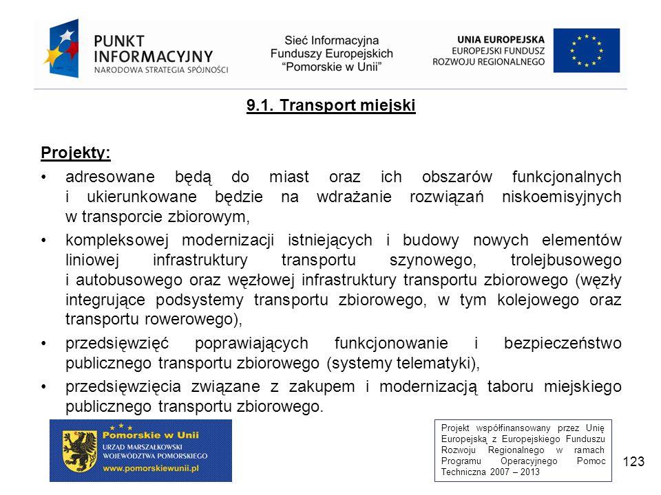 Projekt współfinansowany przez Unię Europejską z Europejskiego Funduszu Rozwoju Regionalnego w ramach Programu Operacyjnego Pomoc Techniczna 2007 – 2013 123 9.1.