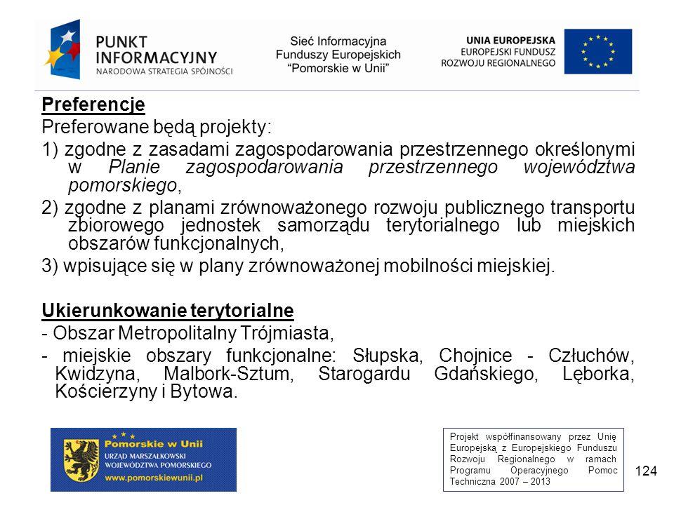 Projekt współfinansowany przez Unię Europejską z Europejskiego Funduszu Rozwoju Regionalnego w ramach Programu Operacyjnego Pomoc Techniczna 2007 – 2013 124 Preferencje Preferowane będą projekty: 1) zgodne z zasadami zagospodarowania przestrzennego określonymi w Planie zagospodarowania przestrzennego województwa pomorskiego, 2) zgodne z planami zrównoważonego rozwoju publicznego transportu zbiorowego jednostek samorządu terytorialnego lub miejskich obszarów funkcjonalnych, 3) wpisujące się w plany zrównoważonej mobilności miejskiej.