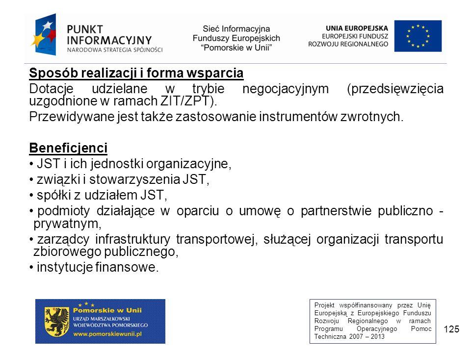 Projekt współfinansowany przez Unię Europejską z Europejskiego Funduszu Rozwoju Regionalnego w ramach Programu Operacyjnego Pomoc Techniczna 2007 – 2013 125 Sposób realizacji i forma wsparcia Dotacje udzielane w trybie negocjacyjnym (przedsięwzięcia uzgodnione w ramach ZIT/ZPT).