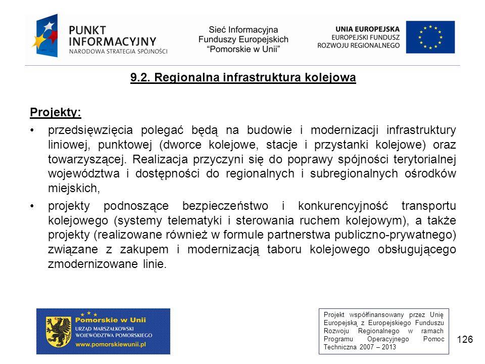 Projekt współfinansowany przez Unię Europejską z Europejskiego Funduszu Rozwoju Regionalnego w ramach Programu Operacyjnego Pomoc Techniczna 2007 – 2013 126 9.2.