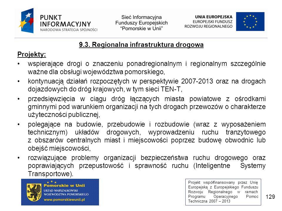 Projekt współfinansowany przez Unię Europejską z Europejskiego Funduszu Rozwoju Regionalnego w ramach Programu Operacyjnego Pomoc Techniczna 2007 – 2013 129 9.3.