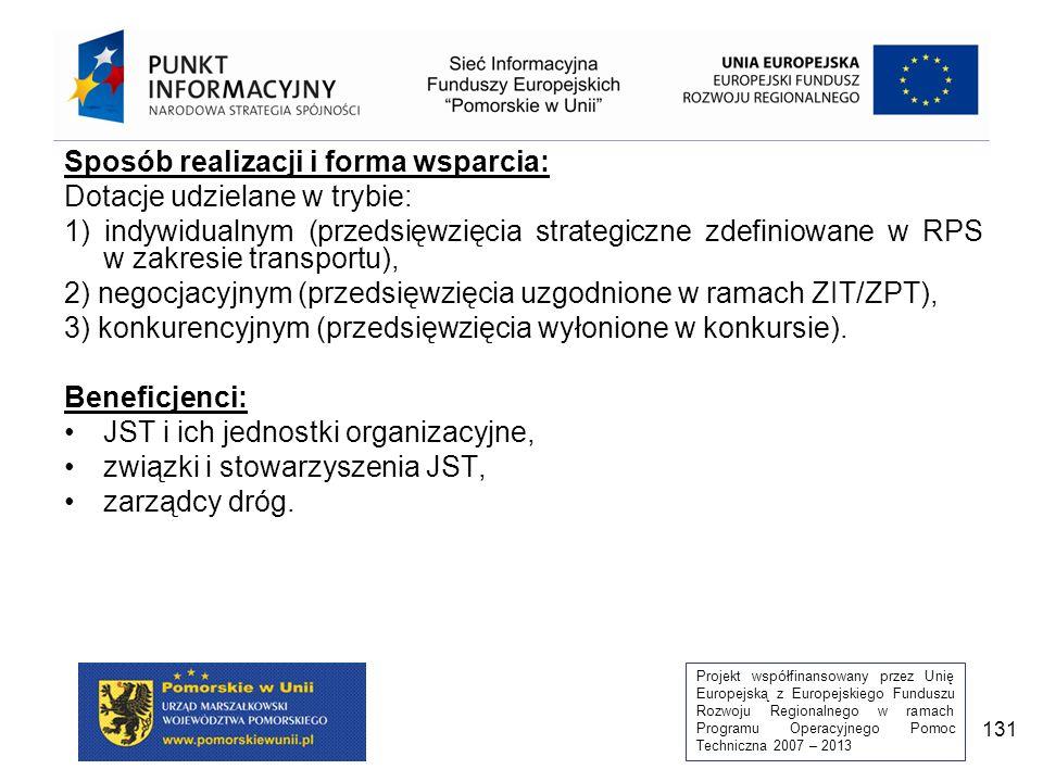 Projekt współfinansowany przez Unię Europejską z Europejskiego Funduszu Rozwoju Regionalnego w ramach Programu Operacyjnego Pomoc Techniczna 2007 – 2013 131 Sposób realizacji i forma wsparcia: Dotacje udzielane w trybie: 1) indywidualnym (przedsięwzięcia strategiczne zdefiniowane w RPS w zakresie transportu), 2) negocjacyjnym (przedsięwzięcia uzgodnione w ramach ZIT/ZPT), 3) konkurencyjnym (przedsięwzięcia wyłonione w konkursie).