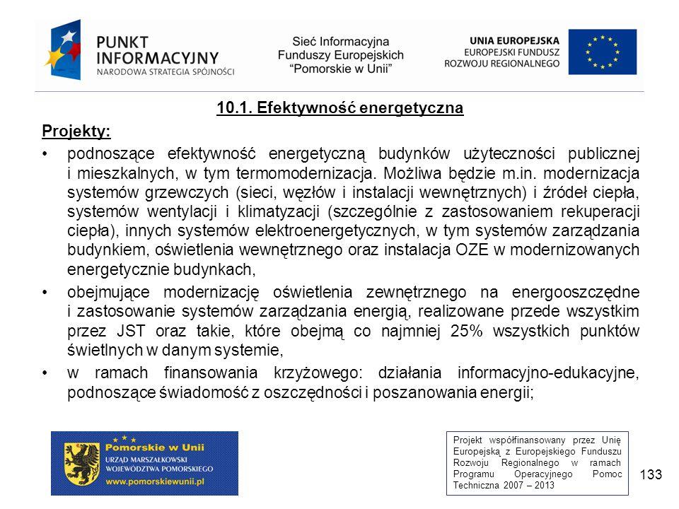 Projekt współfinansowany przez Unię Europejską z Europejskiego Funduszu Rozwoju Regionalnego w ramach Programu Operacyjnego Pomoc Techniczna 2007 – 2013 133 10.1.