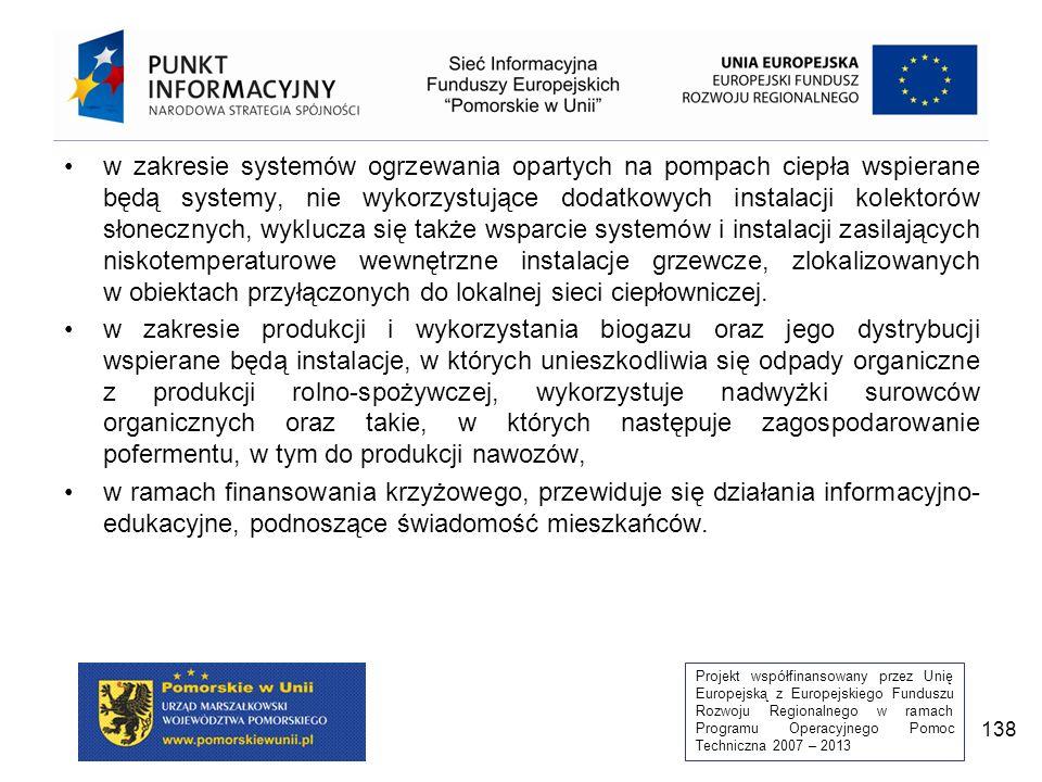 Projekt współfinansowany przez Unię Europejską z Europejskiego Funduszu Rozwoju Regionalnego w ramach Programu Operacyjnego Pomoc Techniczna 2007 – 2013 138 w zakresie systemów ogrzewania opartych na pompach ciepła wspierane będą systemy, nie wykorzystujące dodatkowych instalacji kolektorów słonecznych, wyklucza się także wsparcie systemów i instalacji zasilających niskotemperaturowe wewnętrzne instalacje grzewcze, zlokalizowanych w obiektach przyłączonych do lokalnej sieci ciepłowniczej.