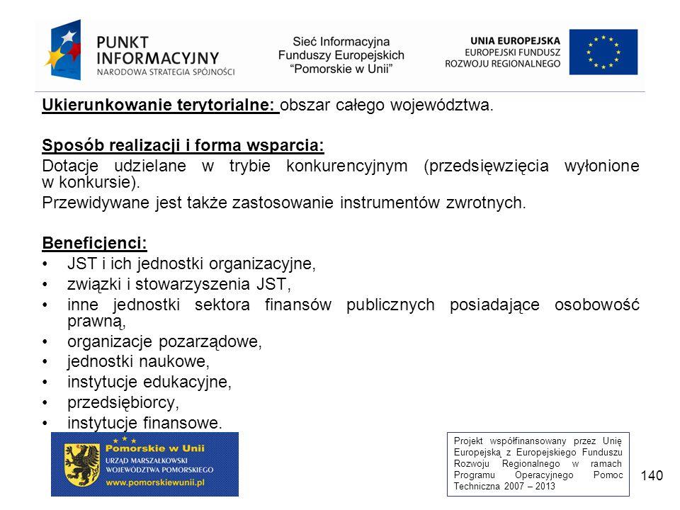Projekt współfinansowany przez Unię Europejską z Europejskiego Funduszu Rozwoju Regionalnego w ramach Programu Operacyjnego Pomoc Techniczna 2007 – 2013 140 Ukierunkowanie terytorialne: obszar całego województwa.