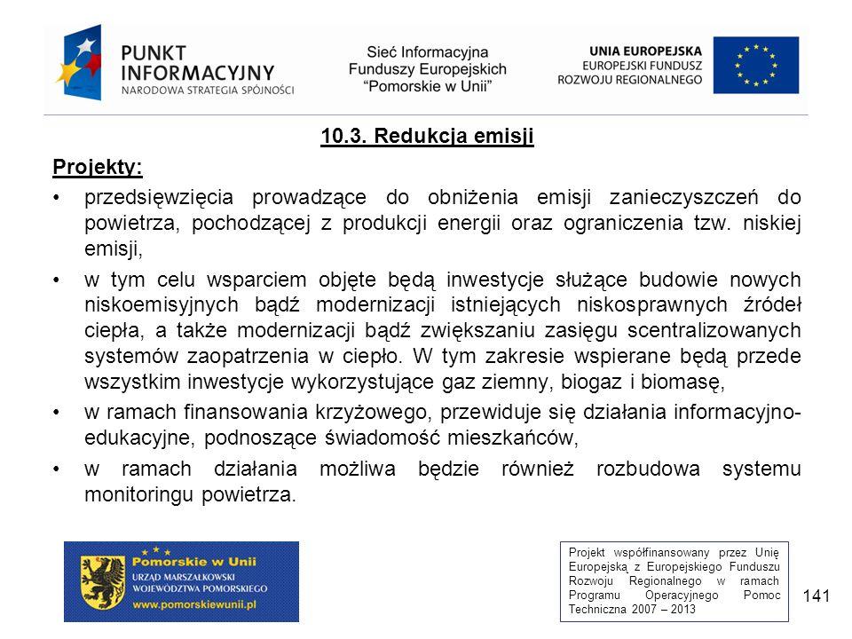 Projekt współfinansowany przez Unię Europejską z Europejskiego Funduszu Rozwoju Regionalnego w ramach Programu Operacyjnego Pomoc Techniczna 2007 – 2013 141 10.3.
