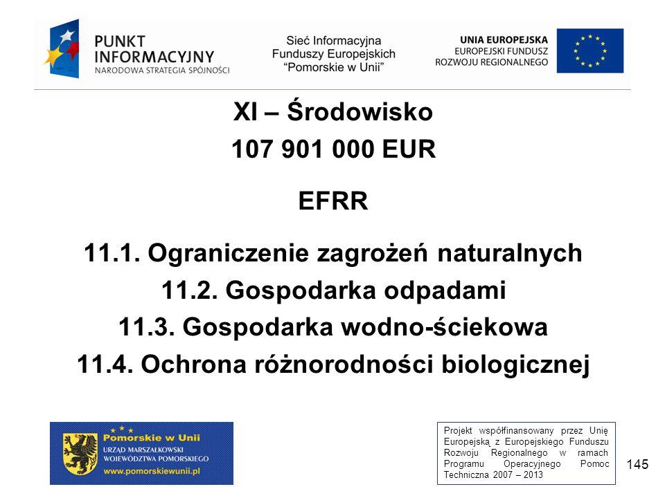 Projekt współfinansowany przez Unię Europejską z Europejskiego Funduszu Rozwoju Regionalnego w ramach Programu Operacyjnego Pomoc Techniczna 2007 – 2013 145 XI – Środowisko 107 901 000 EUR EFRR 11.1.