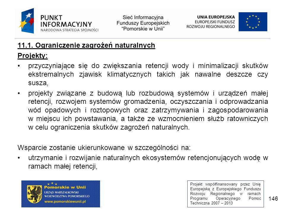 Projekt współfinansowany przez Unię Europejską z Europejskiego Funduszu Rozwoju Regionalnego w ramach Programu Operacyjnego Pomoc Techniczna 2007 – 2013 146 11.1.