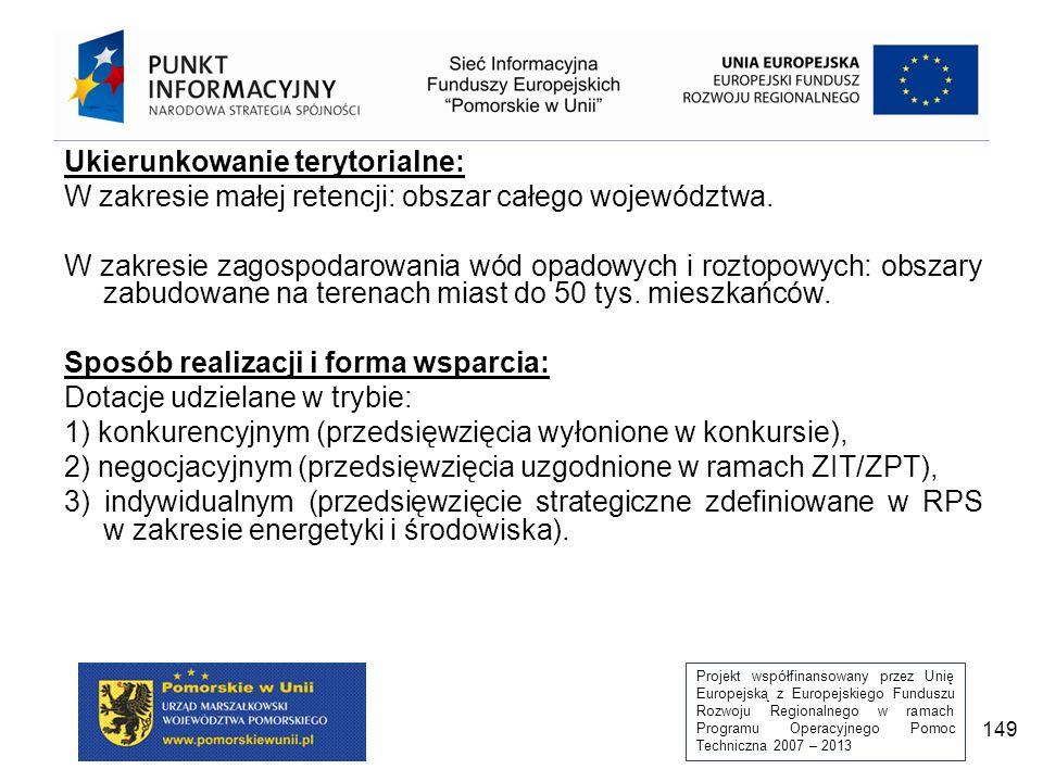 Projekt współfinansowany przez Unię Europejską z Europejskiego Funduszu Rozwoju Regionalnego w ramach Programu Operacyjnego Pomoc Techniczna 2007 – 2013 149 Ukierunkowanie terytorialne: W zakresie małej retencji: obszar całego województwa.
