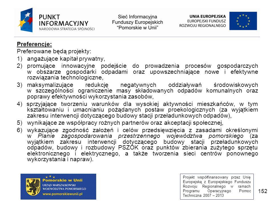 Projekt współfinansowany przez Unię Europejską z Europejskiego Funduszu Rozwoju Regionalnego w ramach Programu Operacyjnego Pomoc Techniczna 2007 – 2013 152 Preferencje: Preferowane będą projekty: 1)angażujące kapitał prywatny, 2)promujące innowacyjne podejście do prowadzenia procesów gospodarczych w obszarze gospodarki odpadami oraz upowszechniające nowe i efektywne rozwiązania technologiczne, 3)maksymalizujące redukcję negatywnych oddziaływań środowiskowych w szczególności ograniczenie masy składowanych odpadów komunalnych oraz poprawy efektywności wykorzystania zasobów, 4) sprzyjające tworzeniu warunków dla wysokiej aktywności mieszkańców, w tym kształtowaniu i umacnianiu pożądanych postaw proekologicznych (za wyjątkiem zakresu interwencji dotyczącego budowy stacji przeładunkowych odpadów), 5)wynikające ze współpracy rożnych partnerów oraz akceptacji społecznej, 6)wykazujące zgodność założeń i celów przedsięwzięcia z zasadami określonymi w Planie zagospodarowania przestrzennego województwa pomorskiego (za wyjątkiem zakresu interwencji dotyczącego budowy stacji przeładunkowych odpadów, budowy i rozbudowy PSZOK oraz punktów zbierania zużytego sprzętu elektronicznego i elektrycznego, a także tworzenia sieci centrów ponownego wykorzystania i napraw).