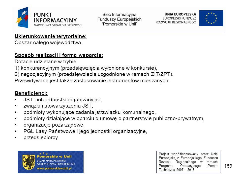 Projekt współfinansowany przez Unię Europejską z Europejskiego Funduszu Rozwoju Regionalnego w ramach Programu Operacyjnego Pomoc Techniczna 2007 – 2013 153 Ukierunkowanie terytorialne: Obszar całego województwa.