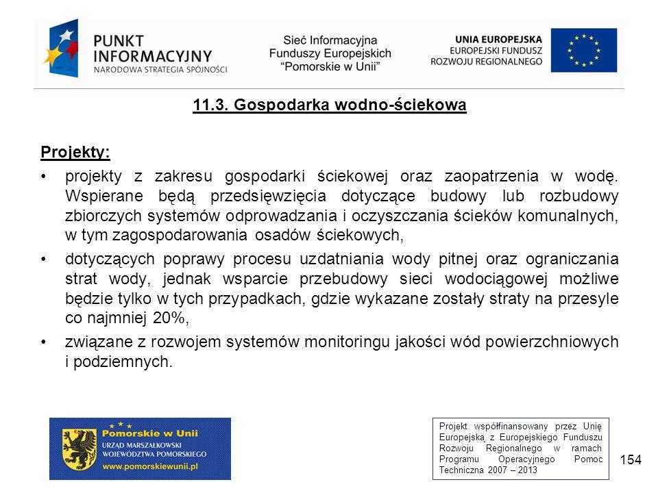 Projekt współfinansowany przez Unię Europejską z Europejskiego Funduszu Rozwoju Regionalnego w ramach Programu Operacyjnego Pomoc Techniczna 2007 – 2013 154 11.3.