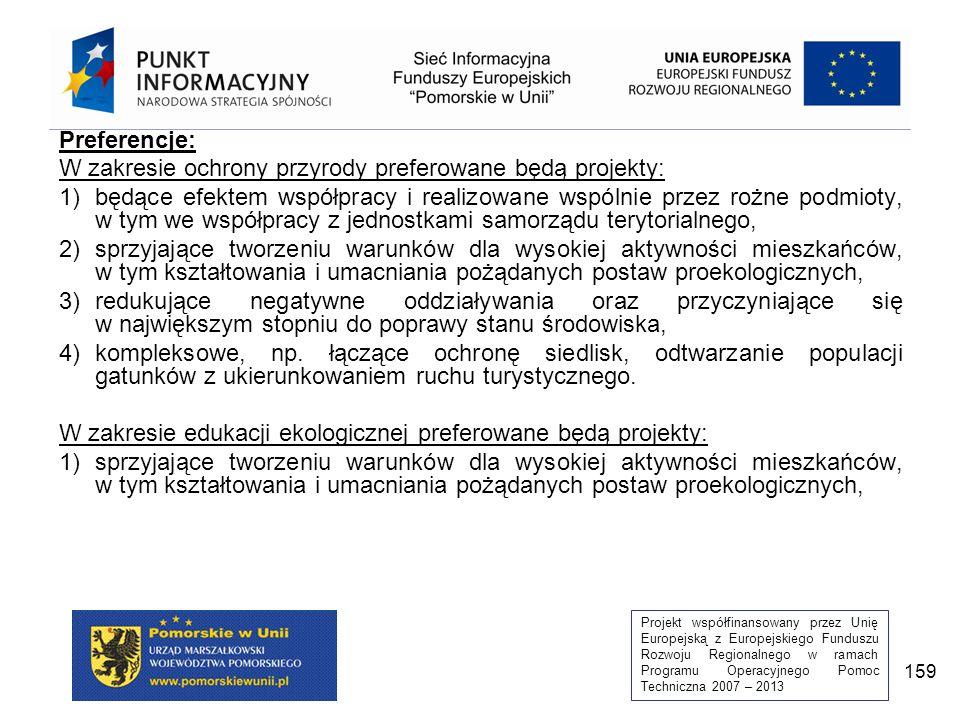 Projekt współfinansowany przez Unię Europejską z Europejskiego Funduszu Rozwoju Regionalnego w ramach Programu Operacyjnego Pomoc Techniczna 2007 – 2013 159 Preferencje: W zakresie ochrony przyrody preferowane będą projekty: 1)będące efektem współpracy i realizowane wspólnie przez rożne podmioty, w tym we współpracy z jednostkami samorządu terytorialnego, 2)sprzyjające tworzeniu warunków dla wysokiej aktywności mieszkańców, w tym kształtowania i umacniania pożądanych postaw proekologicznych, 3)redukujące negatywne oddziaływania oraz przyczyniające się w największym stopniu do poprawy stanu środowiska, 4)kompleksowe, np.