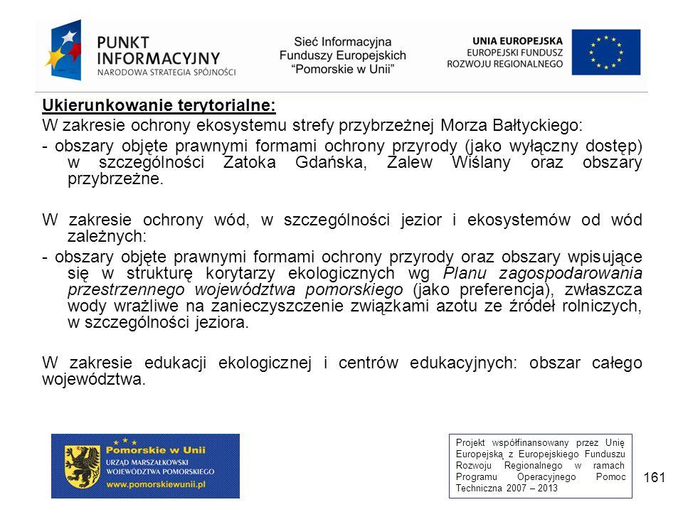Projekt współfinansowany przez Unię Europejską z Europejskiego Funduszu Rozwoju Regionalnego w ramach Programu Operacyjnego Pomoc Techniczna 2007 – 2013 161 Ukierunkowanie terytorialne: W zakresie ochrony ekosystemu strefy przybrzeżnej Morza Bałtyckiego: - obszary objęte prawnymi formami ochrony przyrody (jako wyłączny dostęp) w szczególności Zatoka Gdańska, Zalew Wiślany oraz obszary przybrzeżne.