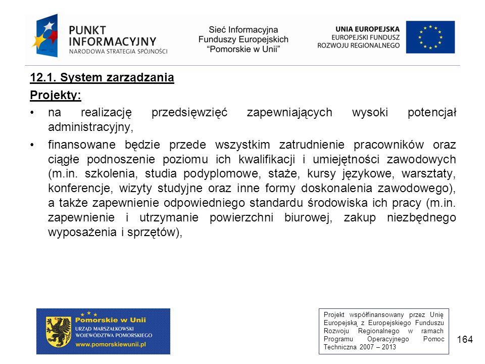Projekt współfinansowany przez Unię Europejską z Europejskiego Funduszu Rozwoju Regionalnego w ramach Programu Operacyjnego Pomoc Techniczna 2007 – 2013 164 12.1.