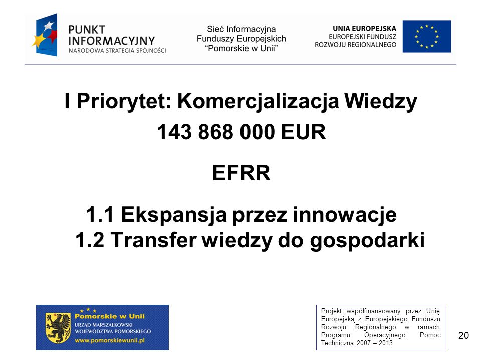 Projekt współfinansowany przez Unię Europejską z Europejskiego Funduszu Rozwoju Regionalnego w ramach Programu Operacyjnego Pomoc Techniczna 2007 – 2013 20 I Priorytet: Komercjalizacja Wiedzy 143 868 000 EUR EFRR 1.1 Ekspansja przez innowacje 1.2 Transfer wiedzy do gospodarki