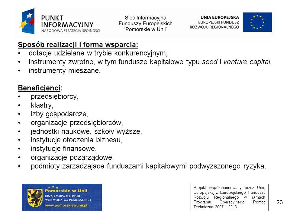 Projekt współfinansowany przez Unię Europejską z Europejskiego Funduszu Rozwoju Regionalnego w ramach Programu Operacyjnego Pomoc Techniczna 2007 – 2013 23 Sposób realizacji i forma wsparcia: dotacje udzielane w trybie konkurencyjnym, instrumenty zwrotne, w tym fundusze kapitałowe typu seed i venture capital, instrumenty mieszane.