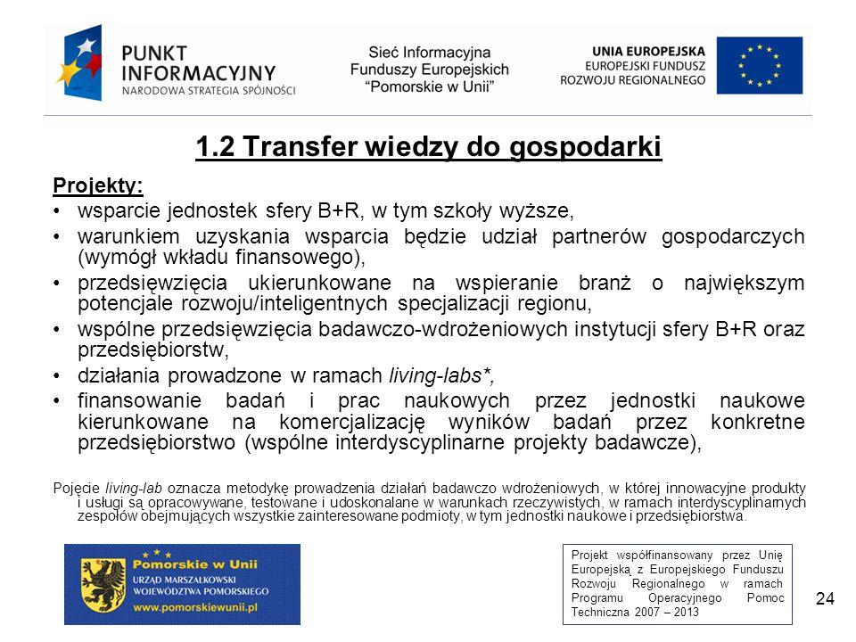 Projekt współfinansowany przez Unię Europejską z Europejskiego Funduszu Rozwoju Regionalnego w ramach Programu Operacyjnego Pomoc Techniczna 2007 – 2013 24 1.2 Transfer wiedzy do gospodarki Projekty: wsparcie jednostek sfery B+R, w tym szkoły wyższe, warunkiem uzyskania wsparcia będzie udział partnerów gospodarczych (wymógł wkładu finansowego), przedsięwzięcia ukierunkowane na wspieranie branż o największym potencjale rozwoju/inteligentnych specjalizacji regionu, wspólne przedsięwzięcia badawczo-wdrożeniowych instytucji sfery B+R oraz przedsiębiorstw, działania prowadzone w ramach living-labs*, finansowanie badań i prac naukowych przez jednostki naukowe kierunkowane na komercjalizację wyników badań przez konkretne przedsiębiorstwo (wspólne interdyscyplinarne projekty badawcze), Pojęcie living-lab oznacza metodykę prowadzenia działań badawczo wdrożeniowych, w której innowacyjne produkty i usługi są opracowywane, testowane i udoskonalane w warunkach rzeczywistych, w ramach interdyscyplinarnych zespołów obejmujących wszystkie zainteresowane podmioty, w tym jednostki naukowe i przedsiębiorstwa.