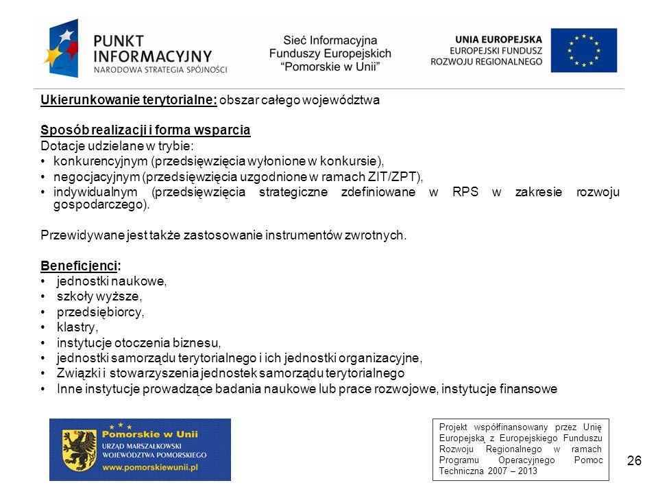 Projekt współfinansowany przez Unię Europejską z Europejskiego Funduszu Rozwoju Regionalnego w ramach Programu Operacyjnego Pomoc Techniczna 2007 – 2013 26 Ukierunkowanie terytorialne: obszar całego województwa Sposób realizacji i forma wsparcia Dotacje udzielane w trybie: konkurencyjnym (przedsięwzięcia wyłonione w konkursie), negocjacyjnym (przedsięwzięcia uzgodnione w ramach ZIT/ZPT), indywidualnym (przedsięwzięcia strategiczne zdefiniowane w RPS w zakresie rozwoju gospodarczego).