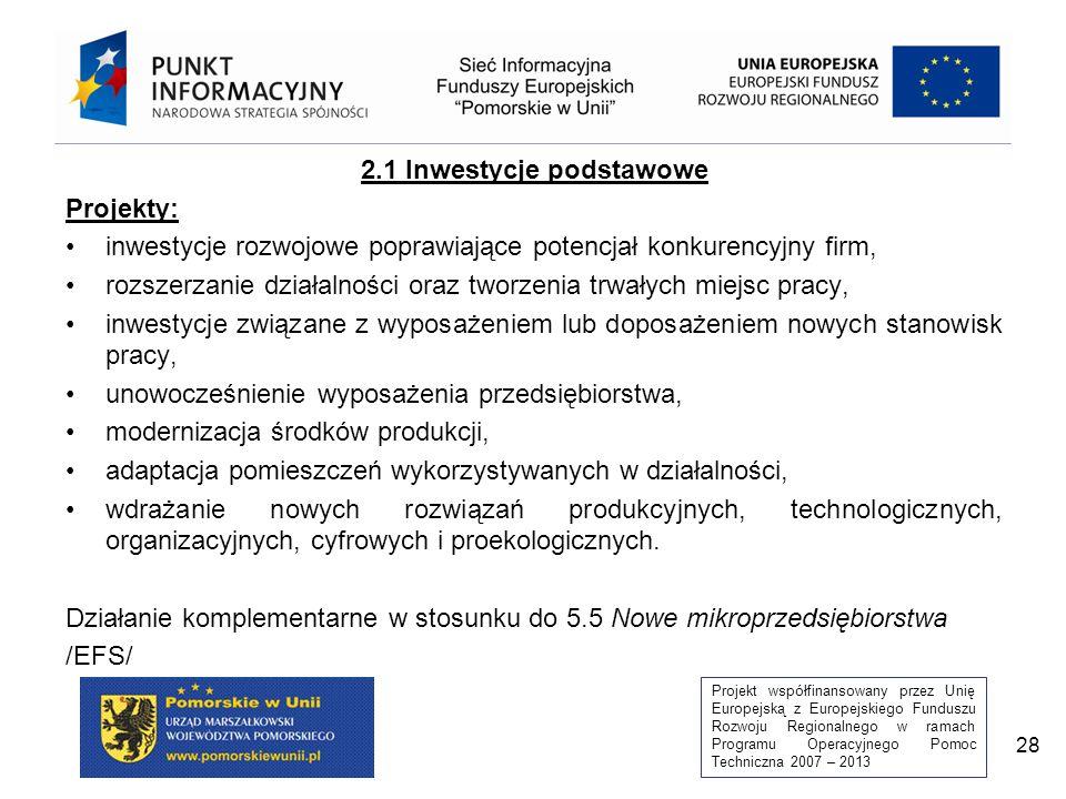 Projekt współfinansowany przez Unię Europejską z Europejskiego Funduszu Rozwoju Regionalnego w ramach Programu Operacyjnego Pomoc Techniczna 2007 – 2013 28 2.1 Inwestycje podstawowe Projekty: inwestycje rozwojowe poprawiające potencjał konkurencyjny firm, rozszerzanie działalności oraz tworzenia trwałych miejsc pracy, inwestycje związane z wyposażeniem lub doposażeniem nowych stanowisk pracy, unowocześnienie wyposażenia przedsiębiorstwa, modernizacja środków produkcji, adaptacja pomieszczeń wykorzystywanych w działalności, wdrażanie nowych rozwiązań produkcyjnych, technologicznych, organizacyjnych, cyfrowych i proekologicznych.