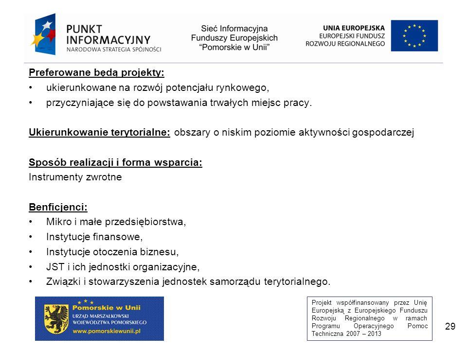 Projekt współfinansowany przez Unię Europejską z Europejskiego Funduszu Rozwoju Regionalnego w ramach Programu Operacyjnego Pomoc Techniczna 2007 – 2013 29 Preferowane będą projekty: ukierunkowane na rozwój potencjału rynkowego, przyczyniające się do powstawania trwałych miejsc pracy.