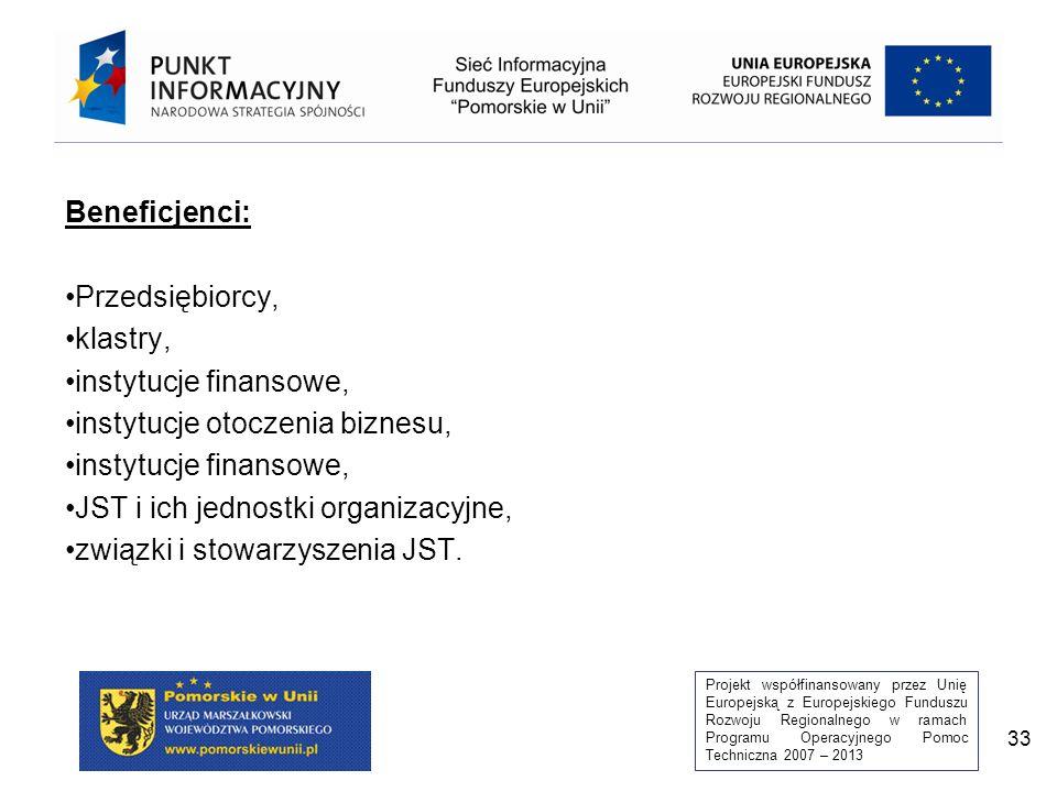 Projekt współfinansowany przez Unię Europejską z Europejskiego Funduszu Rozwoju Regionalnego w ramach Programu Operacyjnego Pomoc Techniczna 2007 – 2013 33 Beneficjenci: Przedsiębiorcy, klastry, instytucje finansowe, instytucje otoczenia biznesu, instytucje finansowe, JST i ich jednostki organizacyjne, związki i stowarzyszenia JST.