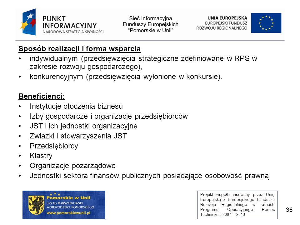 Projekt współfinansowany przez Unię Europejską z Europejskiego Funduszu Rozwoju Regionalnego w ramach Programu Operacyjnego Pomoc Techniczna 2007 – 2013 36 Sposób realizacji i forma wsparcia indywidualnym (przedsięwzięcia strategiczne zdefiniowane w RPS w zakresie rozwoju gospodarczego), konkurencyjnym (przedsięwzięcia wyłonione w konkursie).