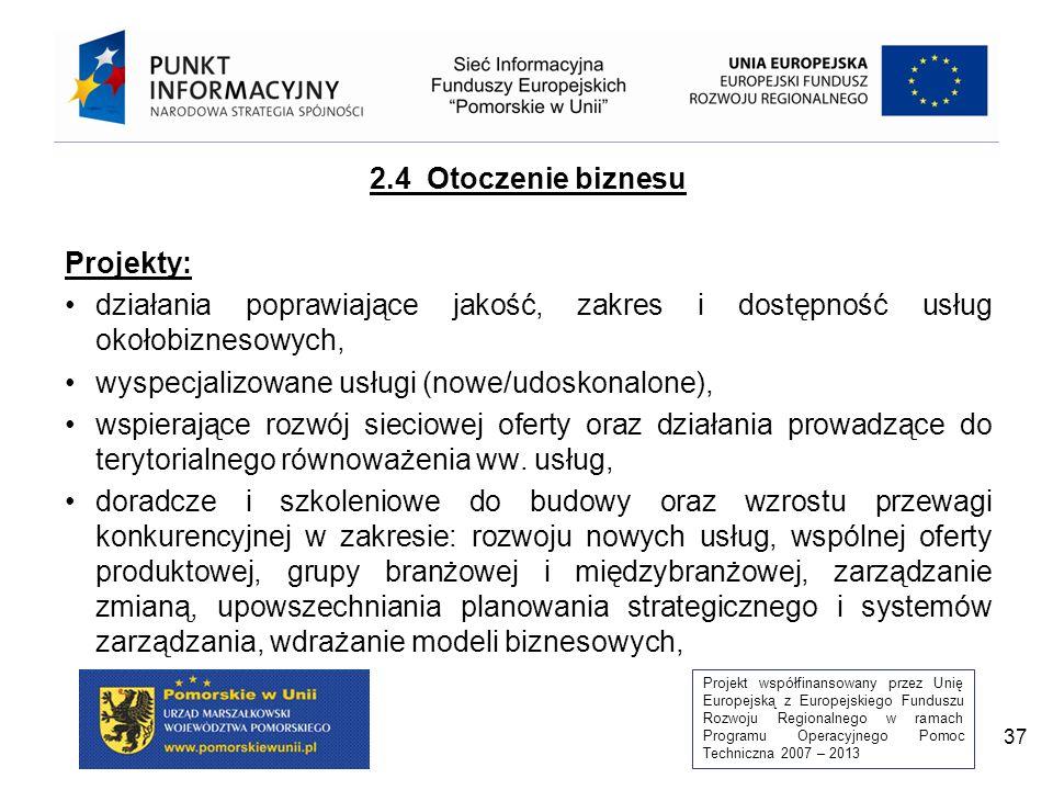Projekt współfinansowany przez Unię Europejską z Europejskiego Funduszu Rozwoju Regionalnego w ramach Programu Operacyjnego Pomoc Techniczna 2007 – 2013 37 2.4 Otoczenie biznesu Projekty: działania poprawiające jakość, zakres i dostępność usług okołobiznesowych, wyspecjalizowane usługi (nowe/udoskonalone), wspierające rozwój sieciowej oferty oraz działania prowadzące do terytorialnego równoważenia ww.