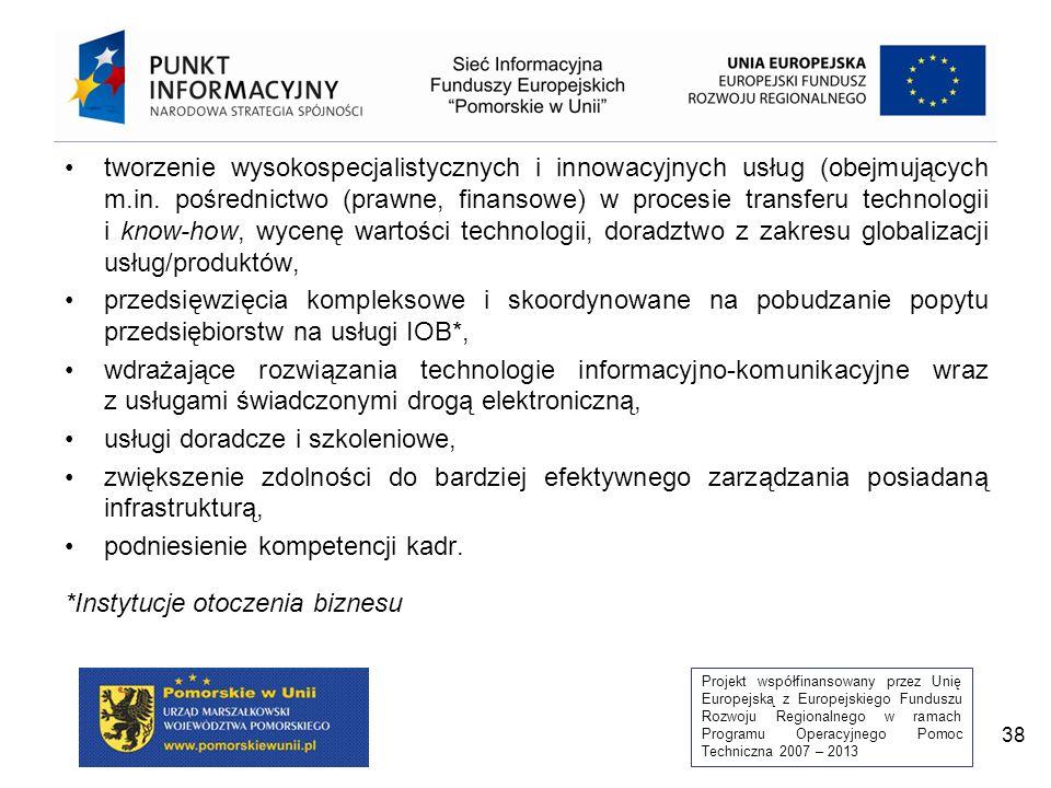 Projekt współfinansowany przez Unię Europejską z Europejskiego Funduszu Rozwoju Regionalnego w ramach Programu Operacyjnego Pomoc Techniczna 2007 – 2013 38 tworzenie wysokospecjalistycznych i innowacyjnych usług (obejmujących m.in.