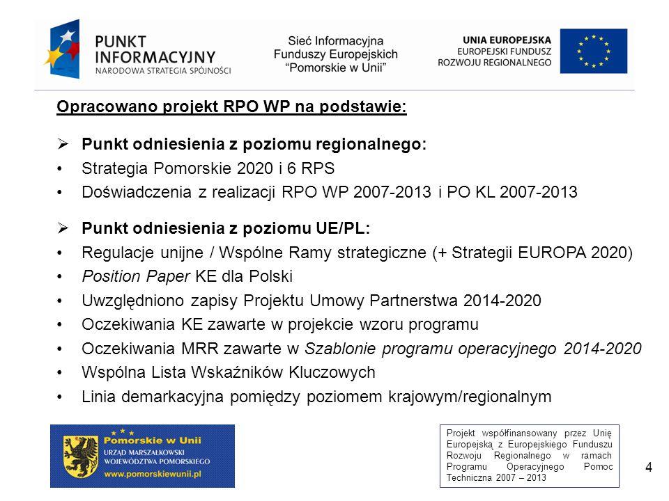 Projekt współfinansowany przez Unię Europejską z Europejskiego Funduszu Rozwoju Regionalnego w ramach Programu Operacyjnego Pomoc Techniczna 2007 – 2013 4 Opracowano projekt RPO WP na podstawie:  Punkt odniesienia z poziomu regionalnego: Strategia Pomorskie 2020 i 6 RPS Doświadczenia z realizacji RPO WP 2007-2013 i PO KL 2007-2013  Punkt odniesienia z poziomu UE/PL: Regulacje unijne / Wspólne Ramy strategiczne (+ Strategii EUROPA 2020) Position Paper KE dla Polski Uwzględniono zapisy Projektu Umowy Partnerstwa 2014-2020 Oczekiwania KE zawarte w projekcie wzoru programu Oczekiwania MRR zawarte w Szablonie programu operacyjnego 2014-2020 Wspólna Lista Wskaźników Kluczowych Linia demarkacyjna pomiędzy poziomem krajowym/regionalnym