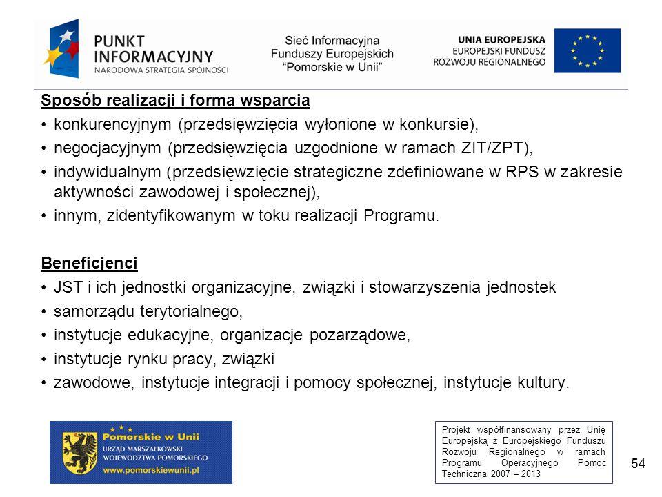 Projekt współfinansowany przez Unię Europejską z Europejskiego Funduszu Rozwoju Regionalnego w ramach Programu Operacyjnego Pomoc Techniczna 2007 – 2013 54 Sposób realizacji i forma wsparcia konkurencyjnym (przedsięwzięcia wyłonione w konkursie), negocjacyjnym (przedsięwzięcia uzgodnione w ramach ZIT/ZPT), indywidualnym (przedsięwzięcie strategiczne zdefiniowane w RPS w zakresie aktywności zawodowej i społecznej), innym, zidentyfikowanym w toku realizacji Programu.