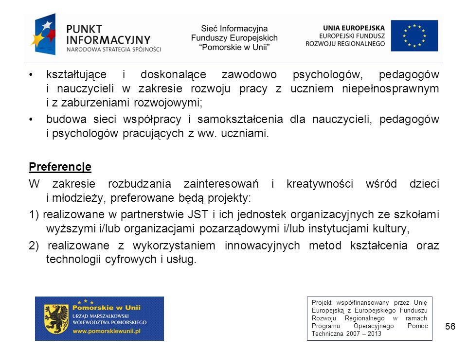 Projekt współfinansowany przez Unię Europejską z Europejskiego Funduszu Rozwoju Regionalnego w ramach Programu Operacyjnego Pomoc Techniczna 2007 – 2013 56 kształtujące i doskonalące zawodowo psychologów, pedagogów i nauczycieli w zakresie rozwoju pracy z uczniem niepełnosprawnym i z zaburzeniami rozwojowymi; budowa sieci współpracy i samokształcenia dla nauczycieli, pedagogów i psychologów pracujących z ww.
