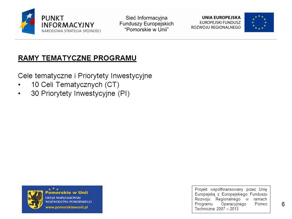 Projekt współfinansowany przez Unię Europejską z Europejskiego Funduszu Rozwoju Regionalnego w ramach Programu Operacyjnego Pomoc Techniczna 2007 – 2013 6 RAMY TEMATYCZNE PROGRAMU Cele tematyczne i Priorytety Inwestycyjne 10 Celi Tematycznych (CT) 30 Priorytety Inwestycyjne (PI)