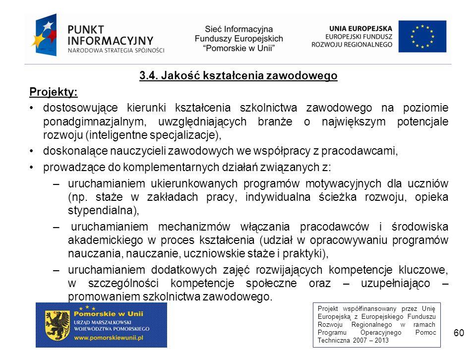 Projekt współfinansowany przez Unię Europejską z Europejskiego Funduszu Rozwoju Regionalnego w ramach Programu Operacyjnego Pomoc Techniczna 2007 – 2013 60 3.4.