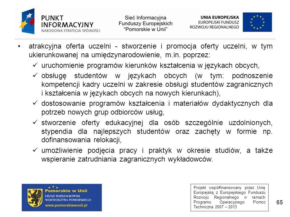 Projekt współfinansowany przez Unię Europejską z Europejskiego Funduszu Rozwoju Regionalnego w ramach Programu Operacyjnego Pomoc Techniczna 2007 – 2013 65 atrakcyjna oferta uczelni - stworzenie i promocja oferty uczelni, w tym ukierunkowanej na umiędzynarodowienie, m.in.