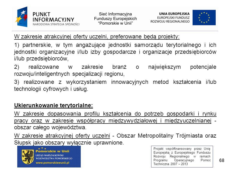 Projekt współfinansowany przez Unię Europejską z Europejskiego Funduszu Rozwoju Regionalnego w ramach Programu Operacyjnego Pomoc Techniczna 2007 – 2013 68 W zakresie atrakcyjnej oferty uczelni, preferowane będą projekty: 1) partnerskie, w tym angażujące jednostki samorządu terytorialnego i ich jednostki organizacyjne i/lub izby gospodarcze i organizacje przedsiębiorców i/lub przedsiębiorców, 2) realizowane w zakresie branż o największym potencjale rozwoju/inteligentnych specjalizacji regionu, 3) realizowane z wykorzystaniem innowacyjnych metod kształcenia i/lub technologii cyfrowych i usług.