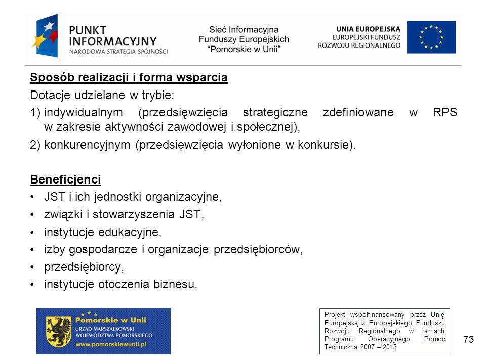 Projekt współfinansowany przez Unię Europejską z Europejskiego Funduszu Rozwoju Regionalnego w ramach Programu Operacyjnego Pomoc Techniczna 2007 – 2013 73 Sposób realizacji i forma wsparcia Dotacje udzielane w trybie: 1)indywidualnym (przedsięwzięcia strategiczne zdefiniowane w RPS w zakresie aktywności zawodowej i społecznej), 2)konkurencyjnym (przedsięwzięcia wyłonione w konkursie).